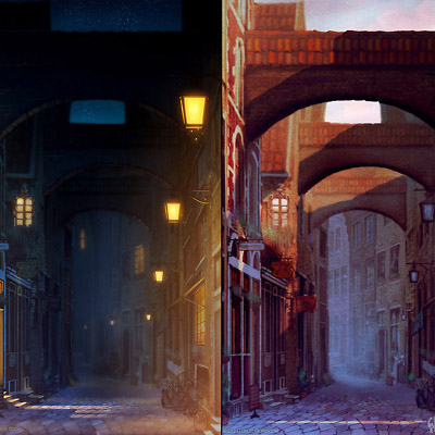 Old alley at night and at sunset